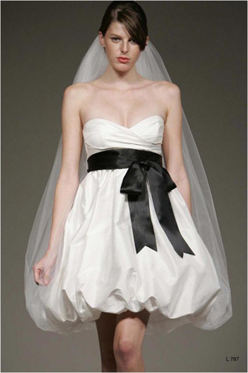 Short Strapless Sweetheart Taffeta Bubble Hem Wedding Dresses