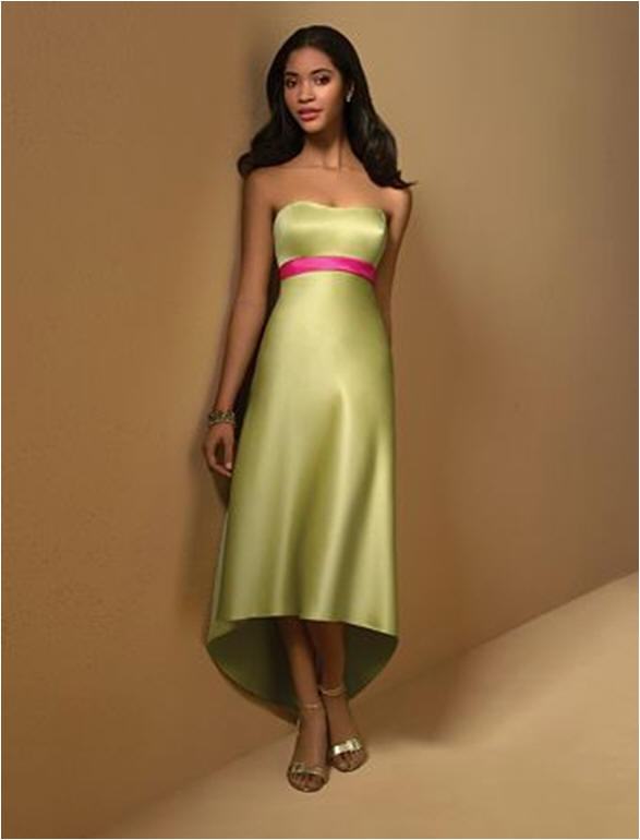 high Low bridesmaid dress in lime and pink