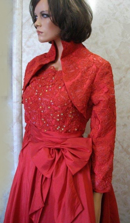 elegant short red mother of the bride/groom dress with jacket