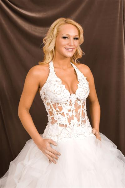 Halter low cut see thru corset wedding gown.