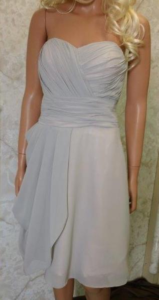 Light Grey Knee Length Bridesmaid Dresses