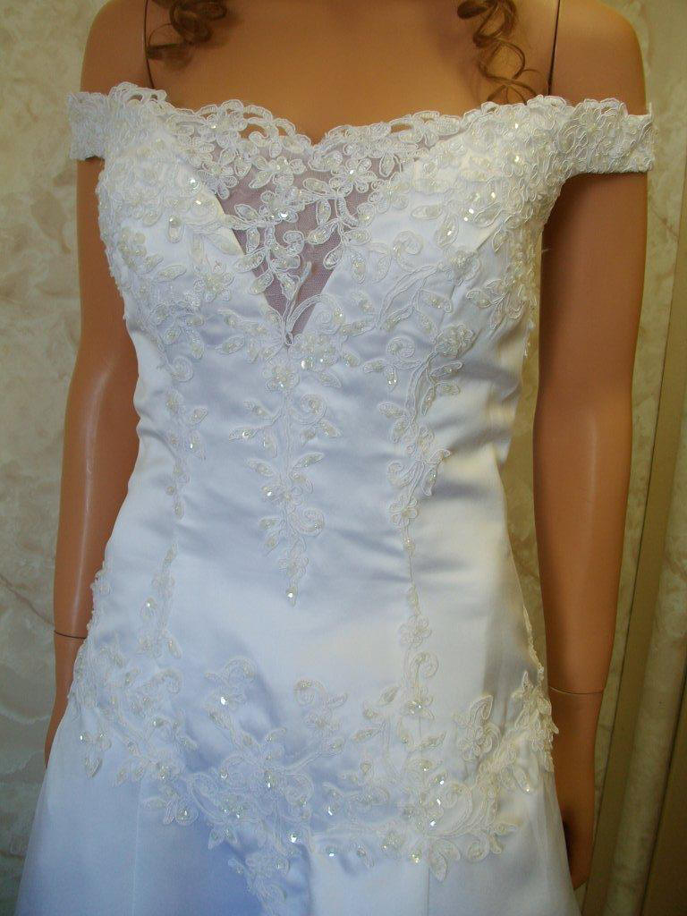 Satin Wedding Gown - Off the shoulder wedding dresses.