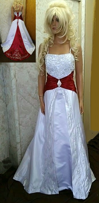 wedding gown with red trim