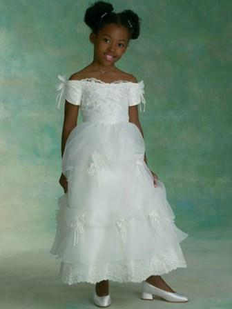 Tea-length Off the Shoulder Flower Girls Dress