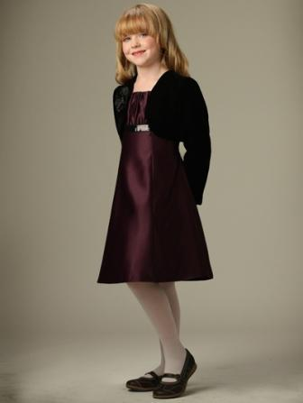 eggplant short girls dress with black jacket