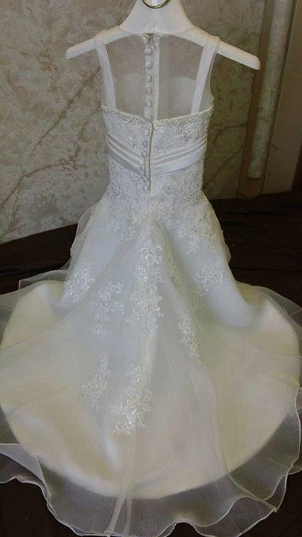 ae1cd79ab ... lace trumpet flower girl dress. Sheer illusion neck ...