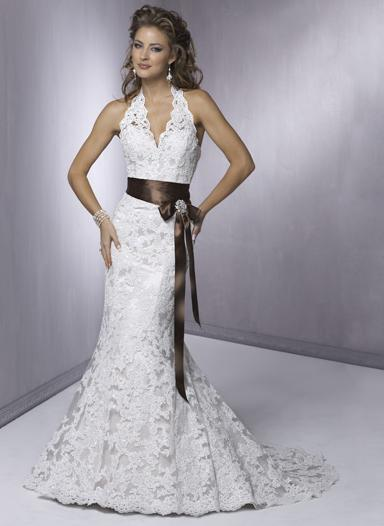 lace halter wedding gown