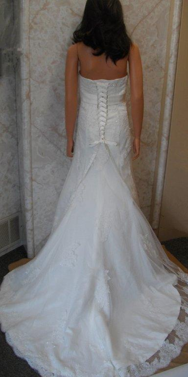 strapless lace wedding gown corset lace up