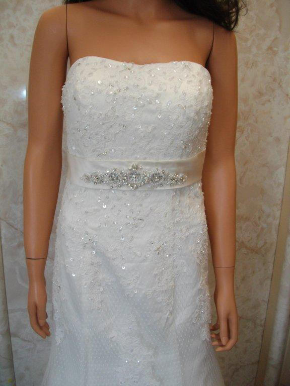 strapless polka dot lace wedding gown