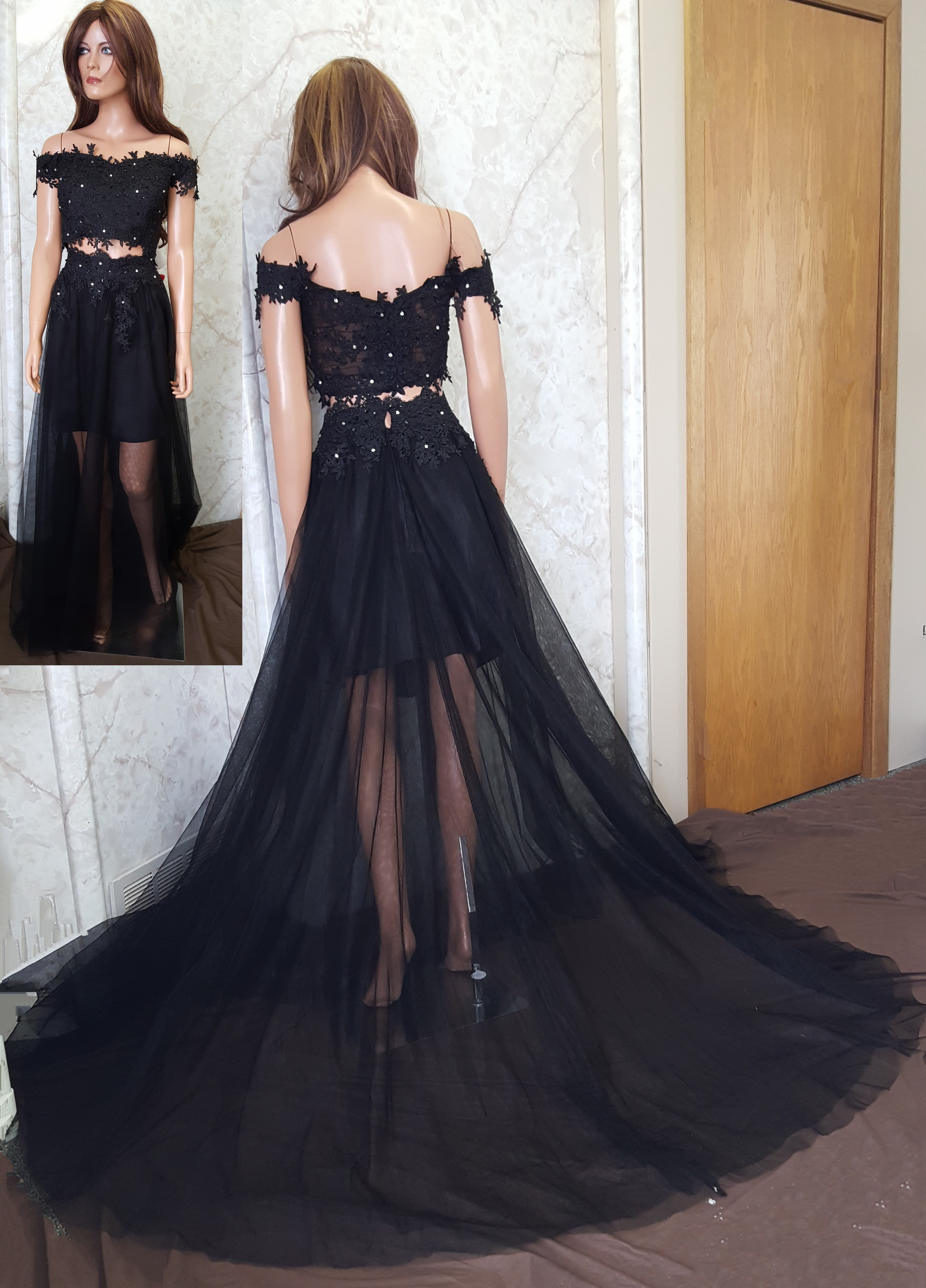 0149928c8ffe Fabric  Organza and satin. Color  black. Neckline  off shoulder.  Silhouette  2 piece crop top. Waist  bare. Embellishment  black and silver  beads