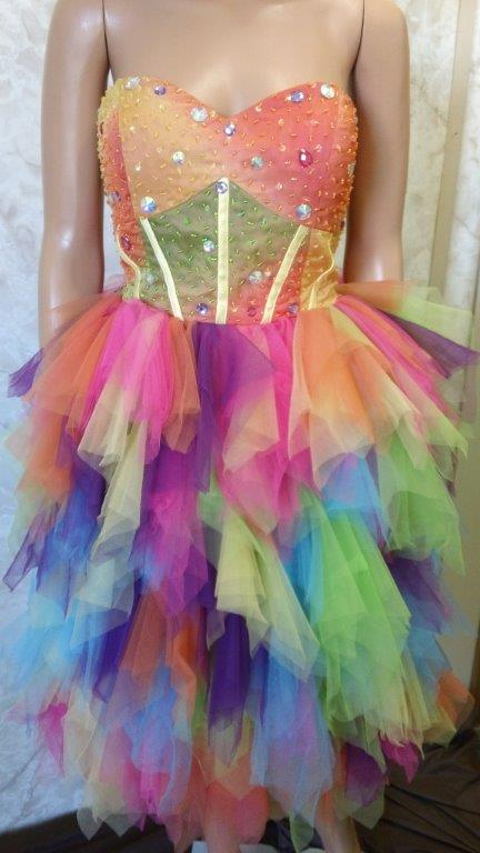 Short strapless rainbow colored fun fashion pageant dress
