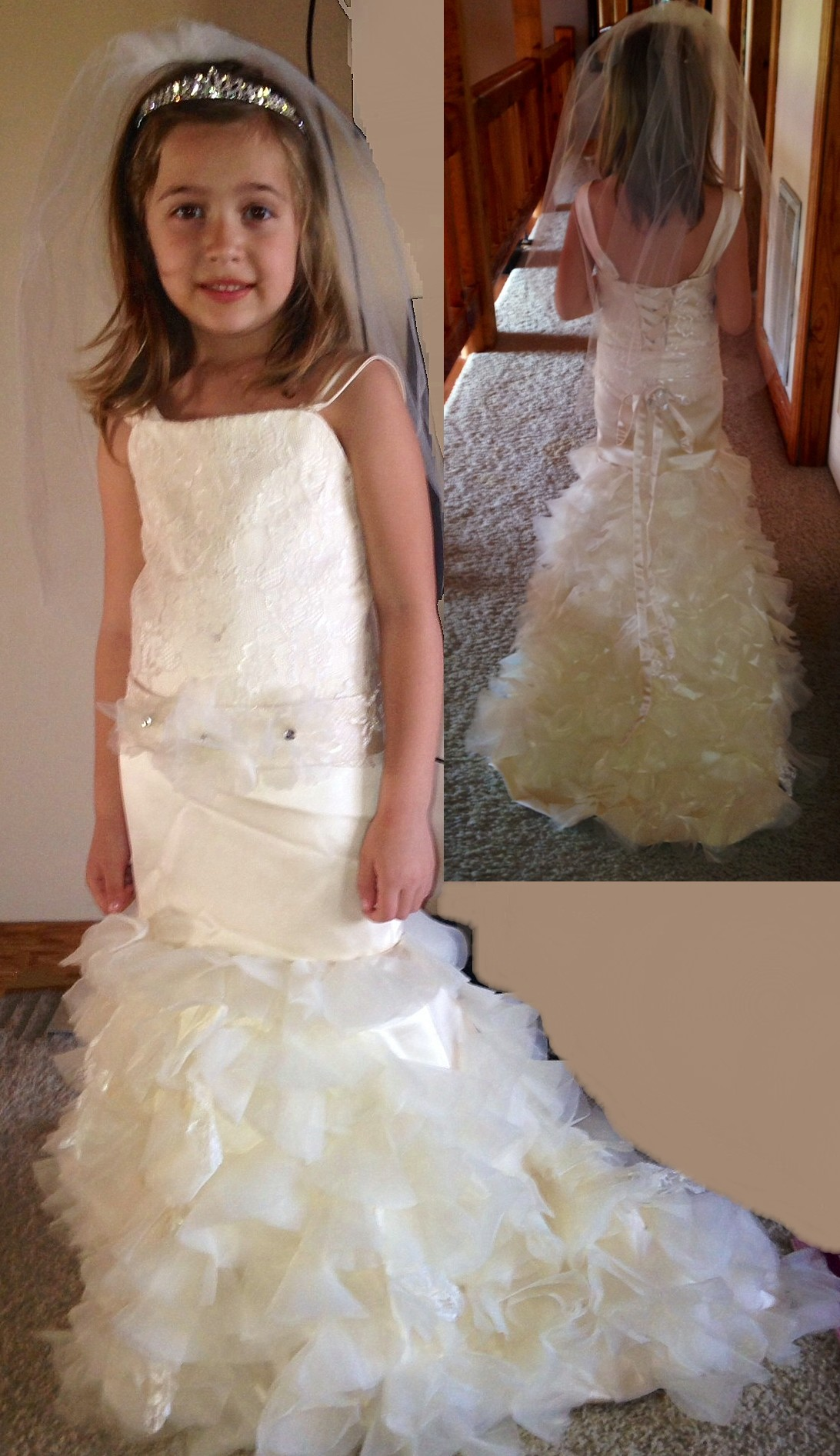 Flower girl dresses made to match the brides wedding dress for Flower girls wedding dress