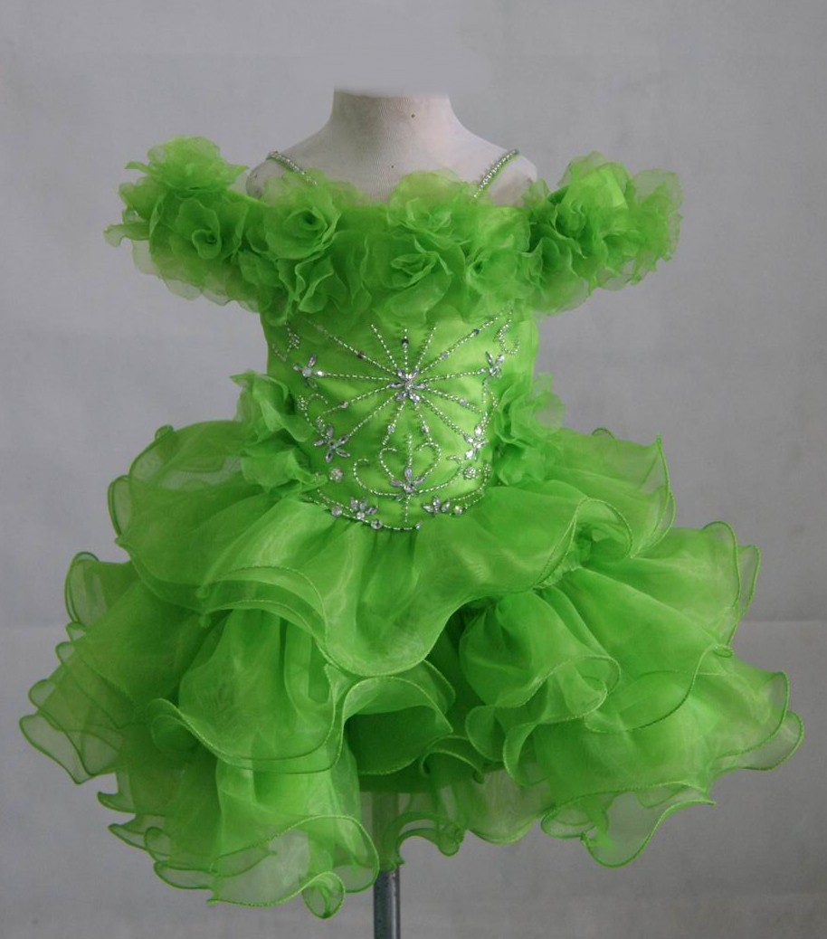 lime with silver bead cupcake pageant dress