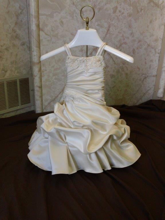 infant wedding gown with cascading train