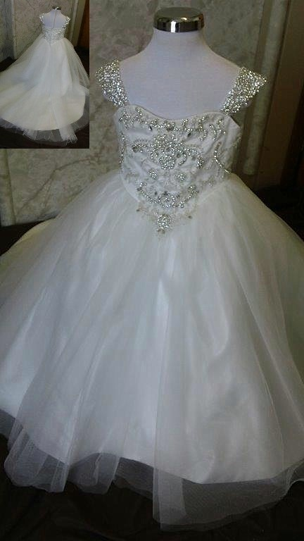 Rhinestone beaded flower girl dress.