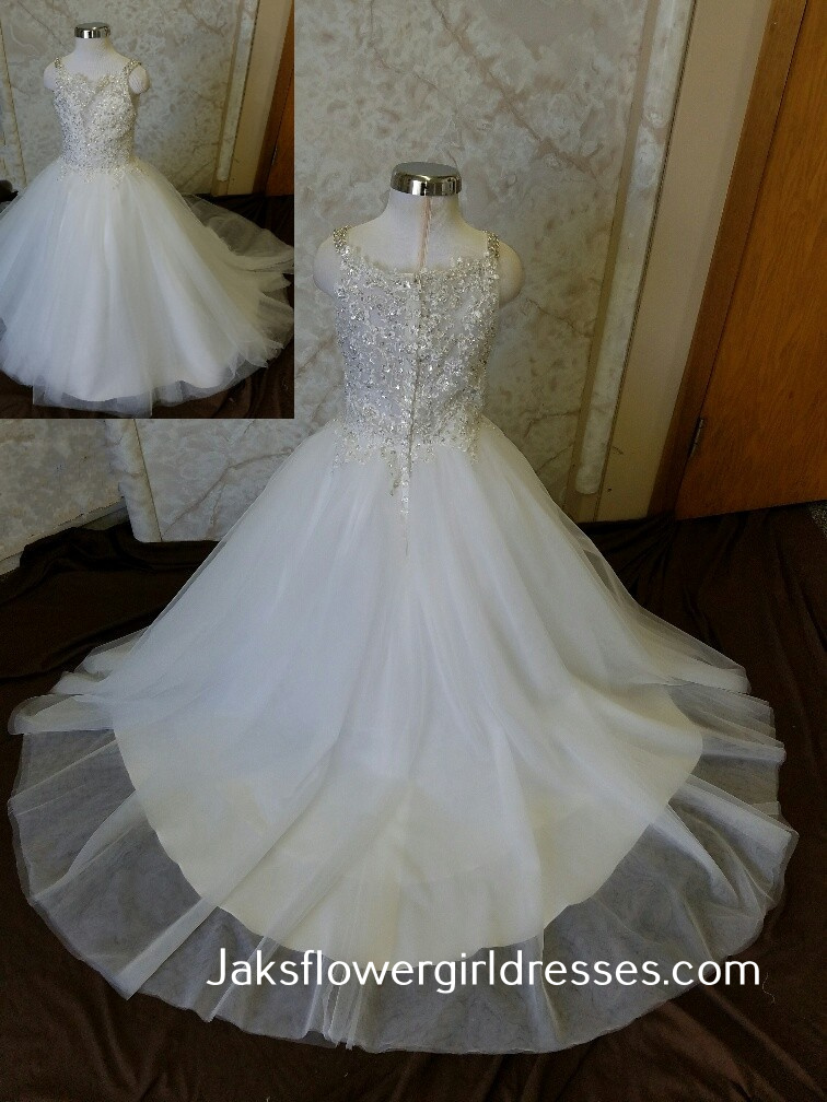 illusion inspired v neck flower girl dress