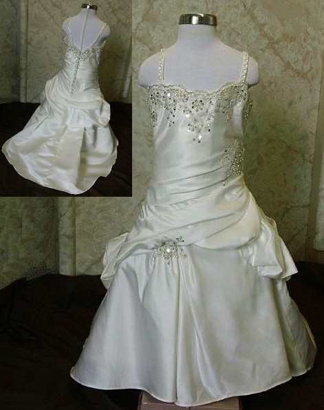 a1356c275e12e Lace embellished floor length flower girl dress with pickup skirt and train.