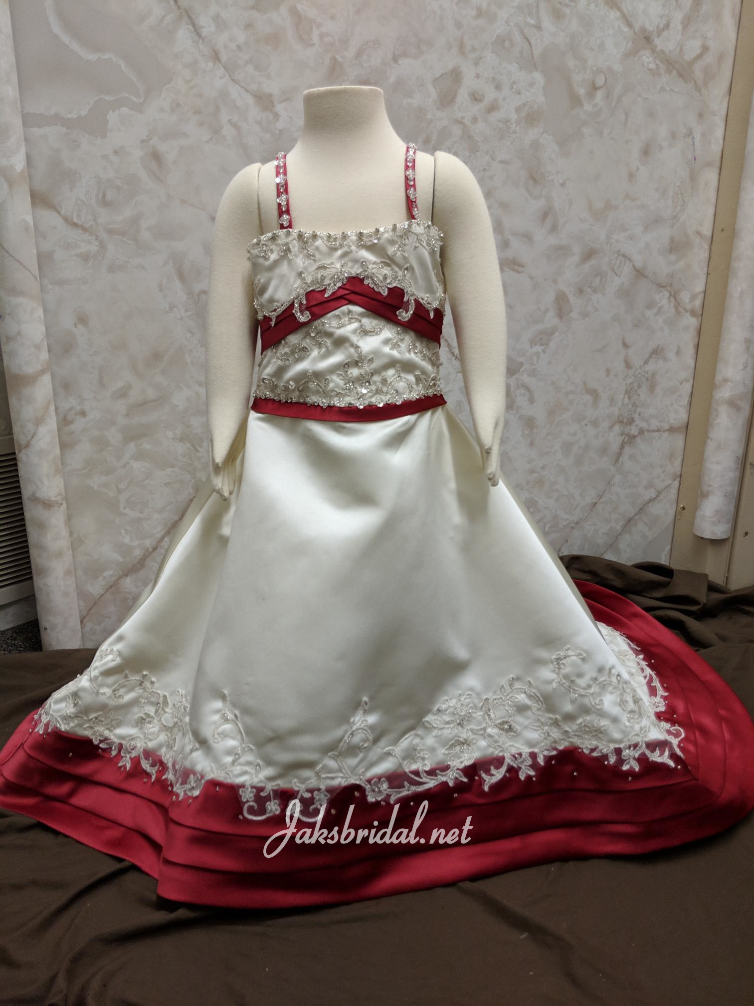 red and ivory flower girl dress