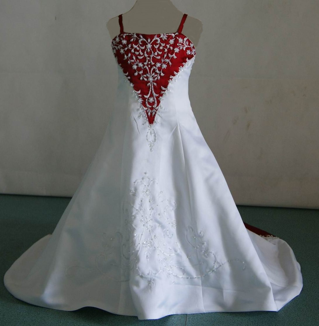 Miniature bridal gowns with color for Short red and white wedding dresses