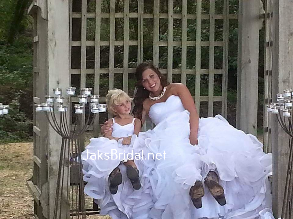 8906b8d85af I never thanked you guys for making such a beautiful flower girl dress to match  my wedding gown for me!