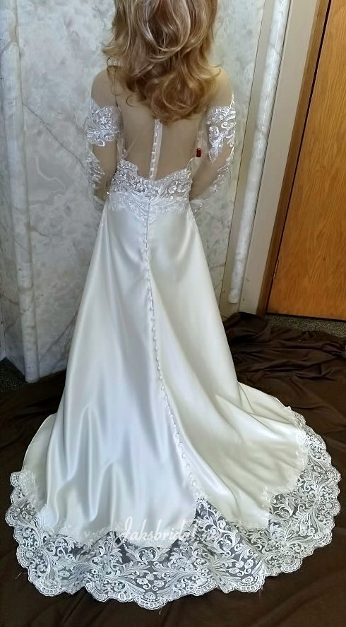 Sheer Illusion back miniature wedding dress with sleeves