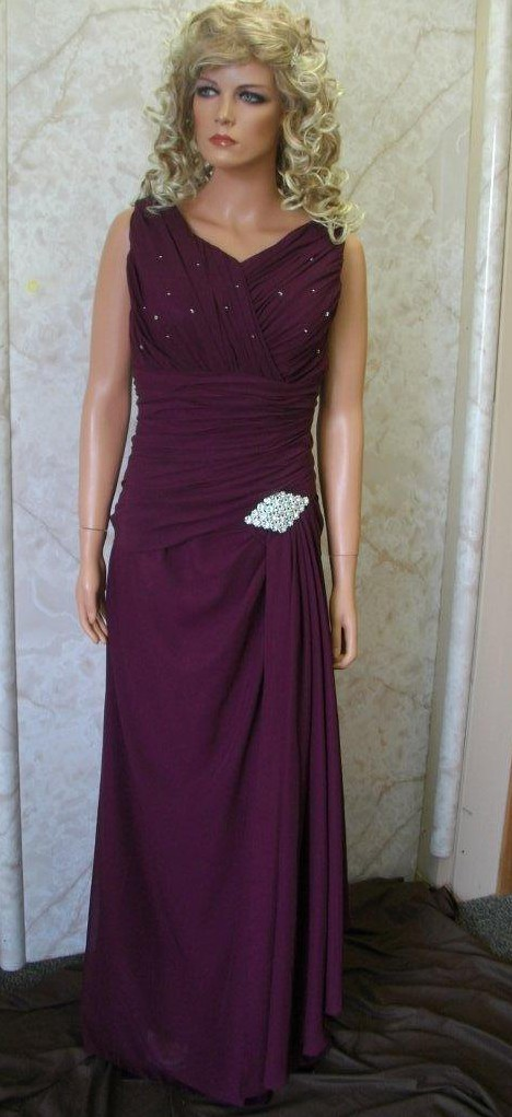 plum chiffon mother of the bride dress