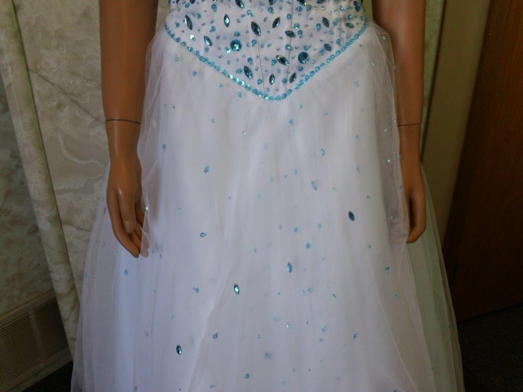 Turquoise Beaded Basque Waist ball gown
