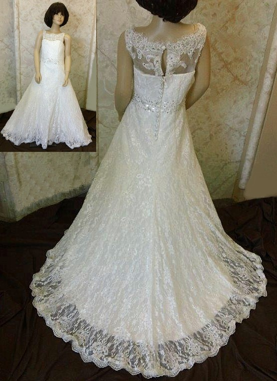 0aaaab9da Light ivory lace flower girl dress with scalloped lace hem