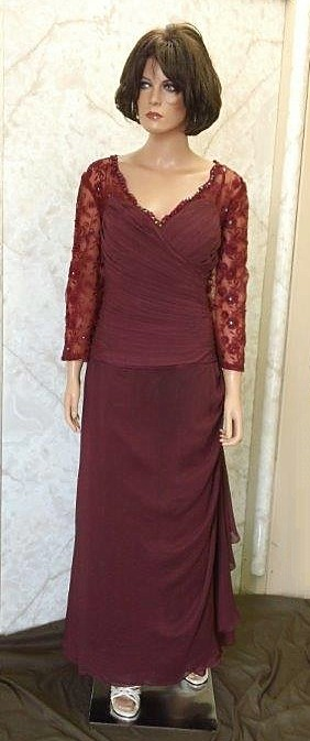 Chiffon Burgundy Lace Wrap Mother of the Bride Dress
