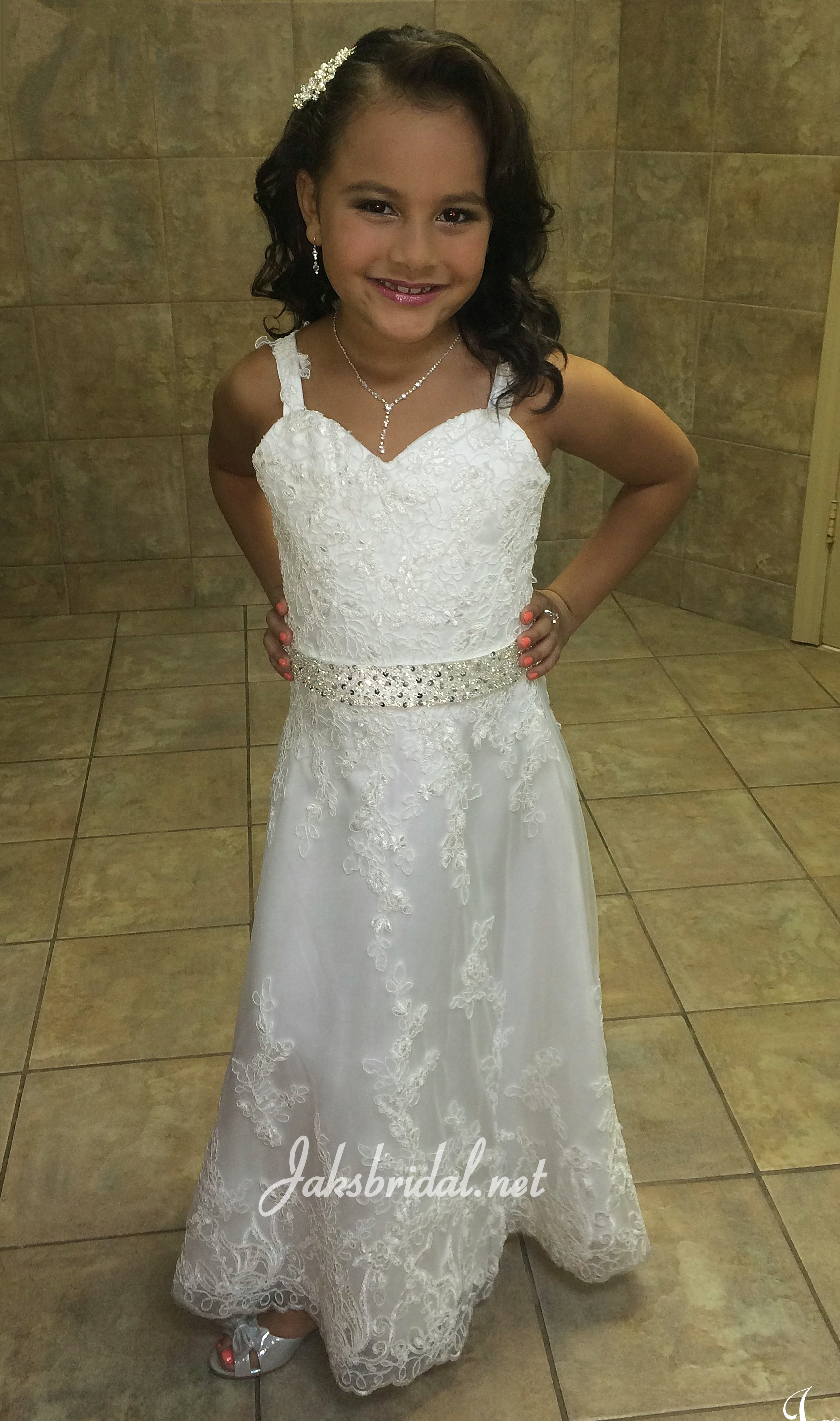 Sweetheart lace flower girl dress for Matching wedding and flower girl dresses