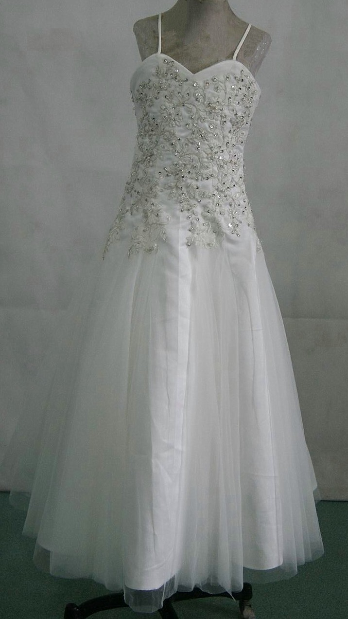 Light ivory tulle and silver childrens wedding gown
