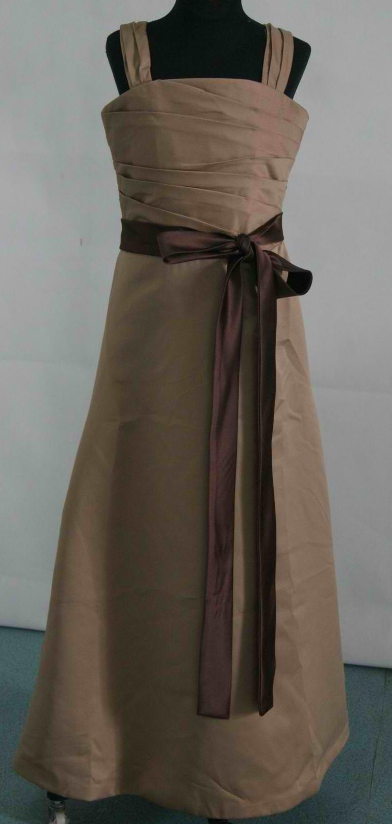 Brown bridesmaid dresses long satin caramel dress with chocolate sash ombrellifo Choice Image