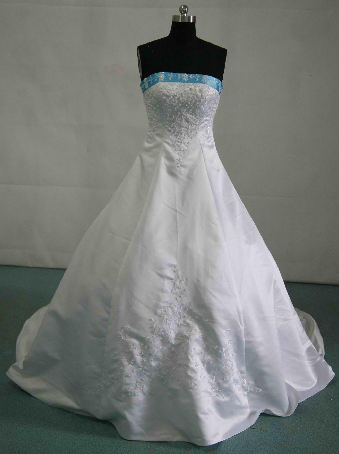 076a266e0 White and pool blue strapless wedding dress sale.