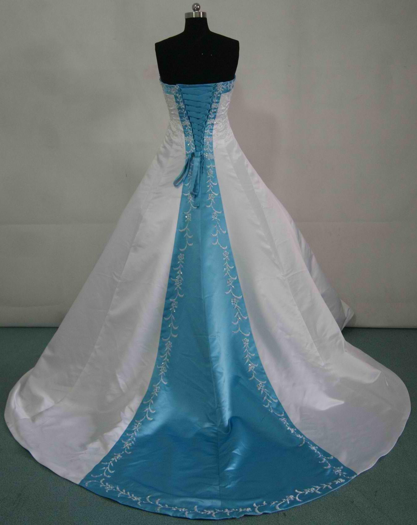 Wedding Dresses With Blue Trim