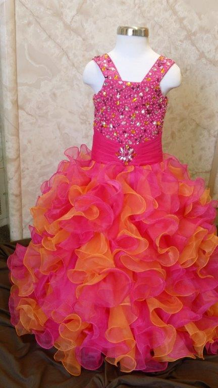 Fuschia/orange Ruffled Skirt Pageant Dress