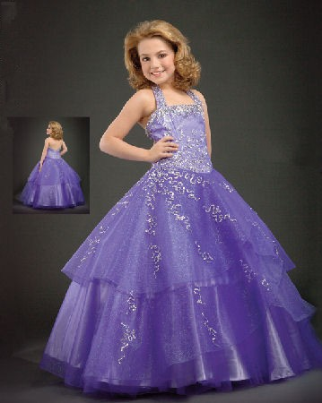 Purple Flower on Pageant Ball Gowns   Little Girls Ball Gown Dresses