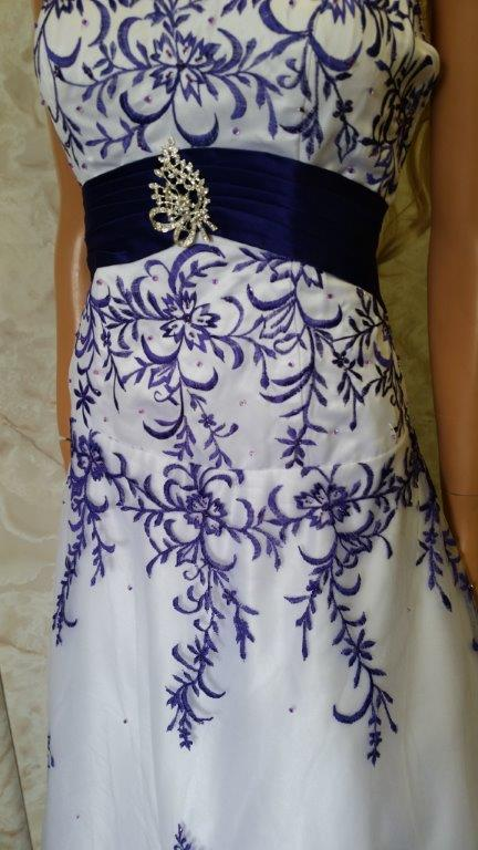 White purple embroidered wedding dress for Wedding dress with purple embroidery