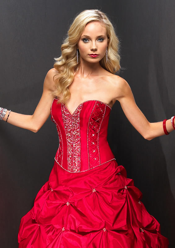 Red quinceanera ball gown