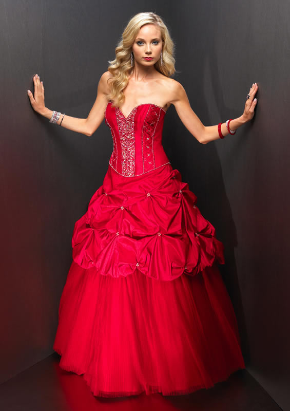 Red corset beaded quinceanera dress.