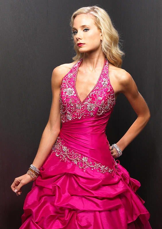 Pink Halter ruched ballroom gown.