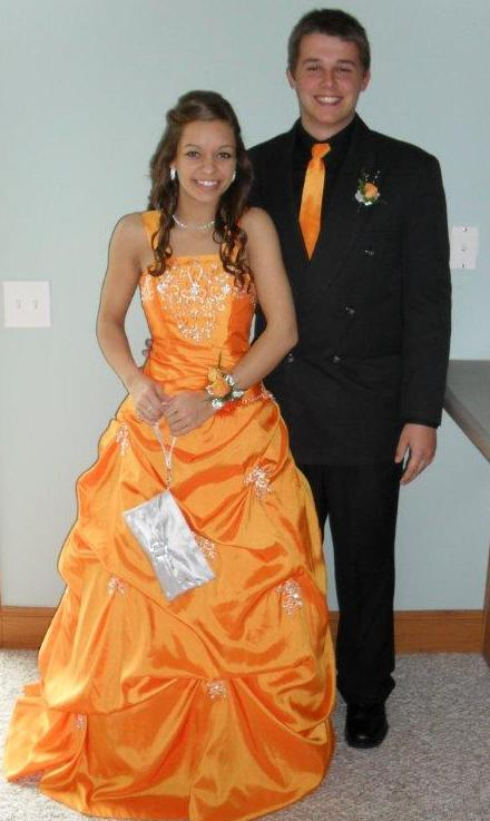 tangerine taffeta dress