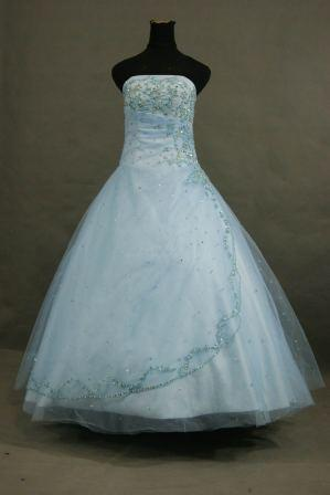 blue beaded tulle prom dress