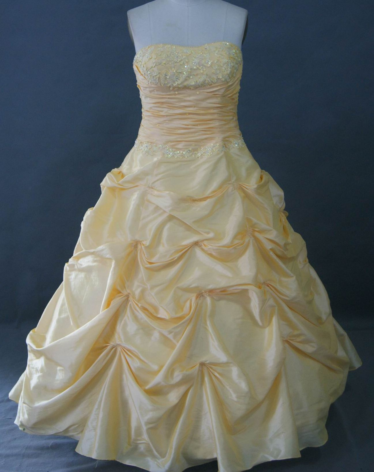 yellow strapless pickup skirt prom dress