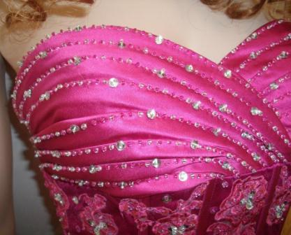 fuchsia beaded prom gown