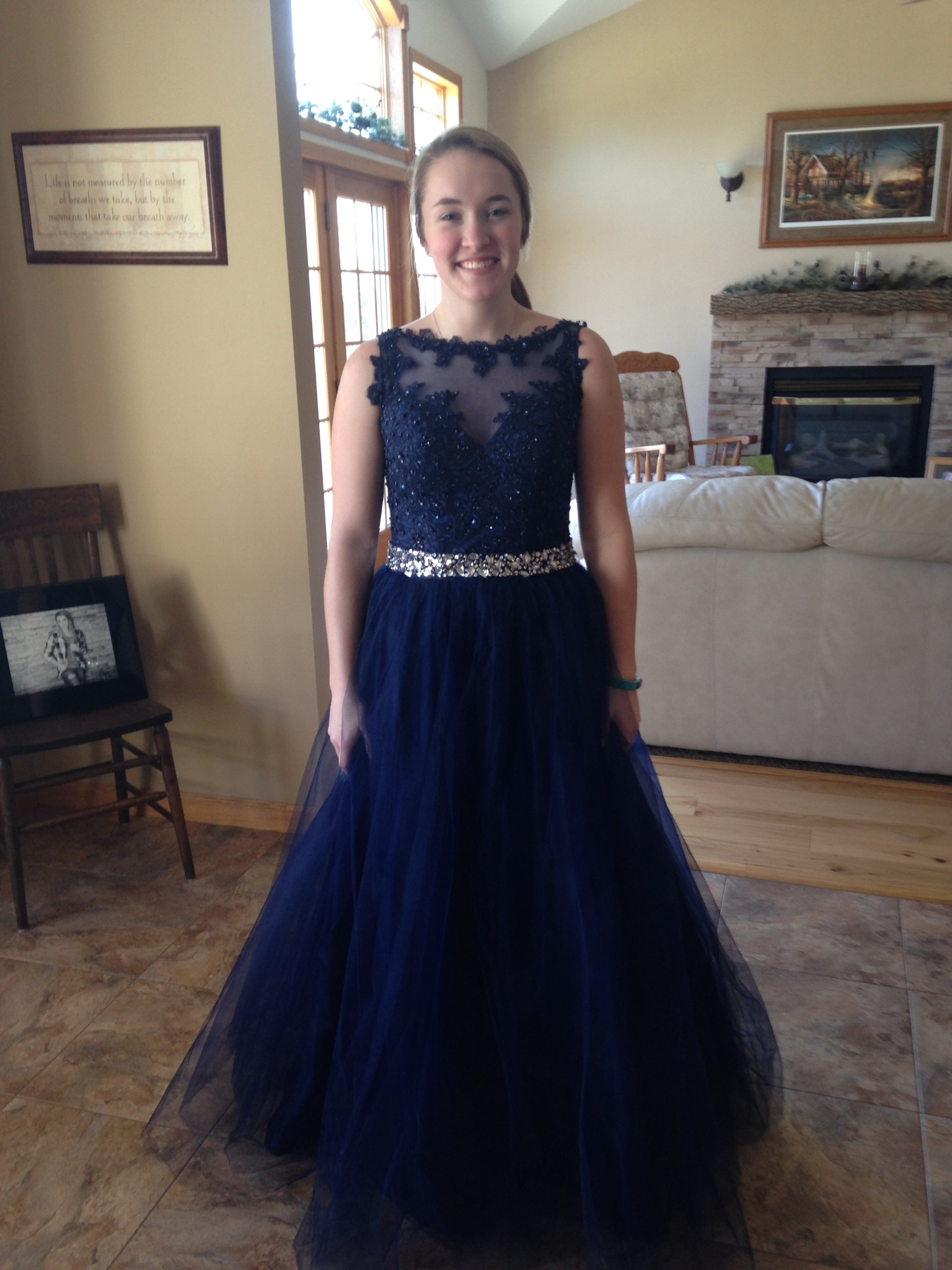 navy blue prom gown