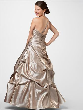 Shiny gold prom dress.