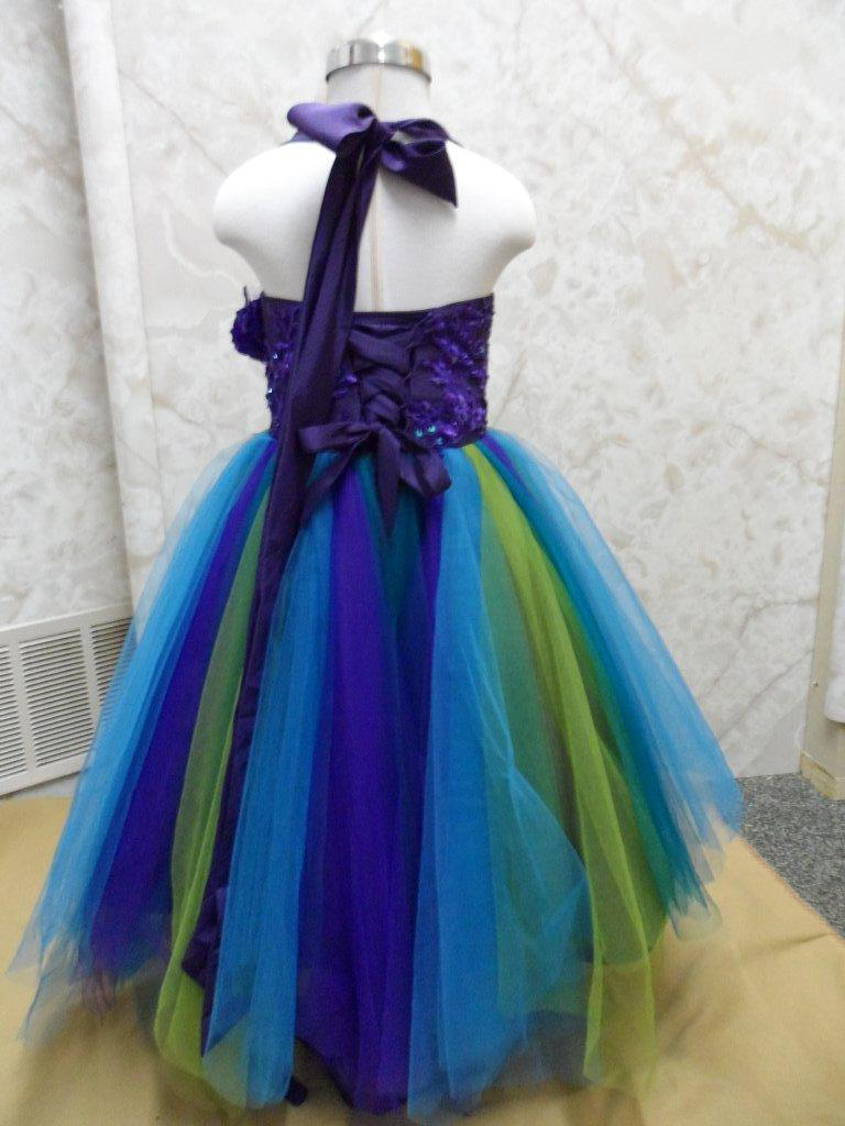 blue green turquoise peacock flower girl dress