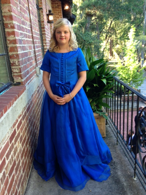 girls royal blue floor length gown