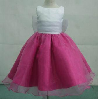 white silver fuschia flower girl tea length dresses