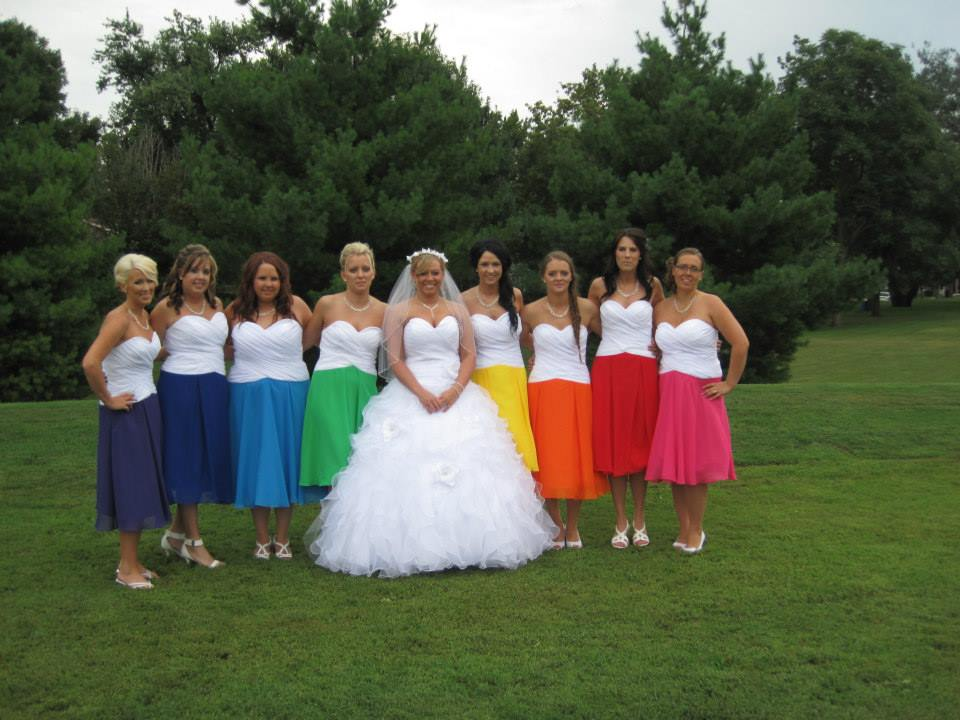 Rainbow bridesmaid dresses images